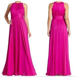 Badgley Mischka magenta pink chiffon gown Size 6